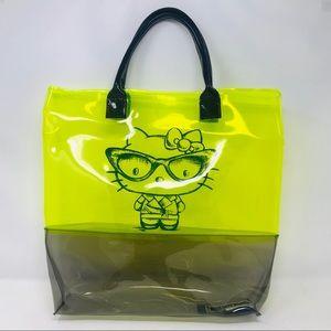 Hello Kitty Lime Green Black PVC Tote Bag